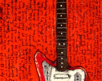 Sonic Youth Art. Kim Gordon 1966 Fender Jaguar electric guitar art print. 11x17.