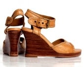 WAVE.  Wedge sandals / leather wedges / sandals / shoes / wood wedge / wedge heels / leather heels / high heels. Sizes: US 4-13.