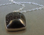 Black Druzy Necklace Druzzy layered in Sterling Silver on a Sterling Silver Chain OOAK