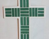 Green Glass Mosaic Cross