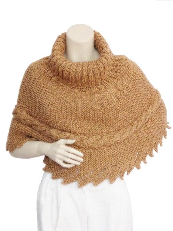 Coffee Poncho, Capelet,women poncho,knit poncho