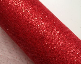 """6"""" Ruby Red Glitter Tulle - 10 Yards"""