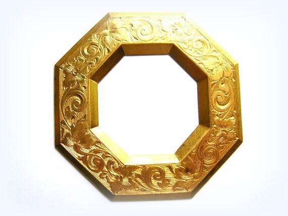 Large etched brass frame findings,filigree,stamping,,vintage jewelry supply,destash,brass