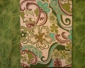 Funky Flowery Book Cover for Nook and Kindle in Blues, Greens, Browns, and Cream - waltzingmonkey