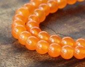 Dyed Jade Beads, Semi-Transparent, Tangerine, 6mm Round - 15 Inch Strand - eSJR-R23-6