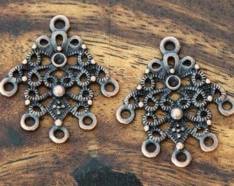 4 Pcs Chandelier Earring Component, Antique Copper, 30mm Ornate - eTS025AC