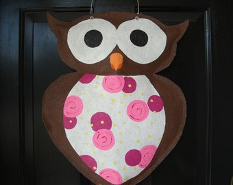 Double sided Burlap Owl