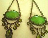 Green Regency Chandelier Earrings