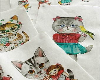Cotton Linen Fabric Cloth -DIY Cloth Art Manual Cloth-Cute Cat 55 x 16 Inches