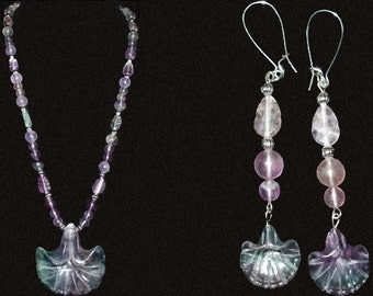 Flourite Flowers Necklace and Earrings Set