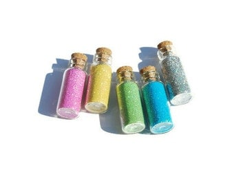 Fairy Jars set of 5, Bright Colors, Pink, Yellow, Green, Blue and Silver