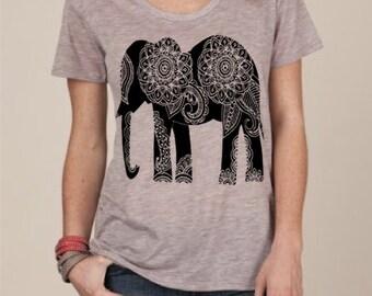 Womens Paisley ELEPHANT BOHO Bohemian Short Sleeve Slouchy T shirt Tee screen print Top Alternative Apparel S M L XL More colors