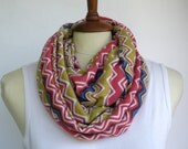 Infinity Scarf, Loop Scarf, Circle Scarf, Light Weight Jersey Colorful Chevron print