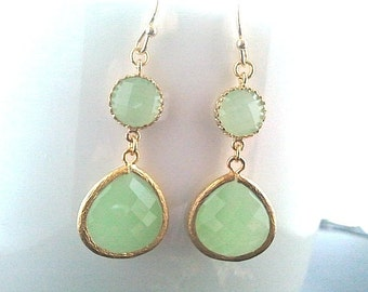 Mint Green Gold Drop Earrings, Bridesmaid Gift Wedding Jewelry Bridesmaid Jewelry Bridal Jewelry,Mint Dangle Earrings