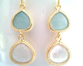 Amazonite Synthetic Stone with Ice Clear Drop, Dangle, Earrings,bridesmaid gifts,Wedding jewelry