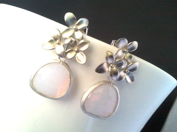 Flower earrings, Cherry Blossom with  Violet Opal post Earrings,bridesmaid gifts,Wedding jewelry,flower girl, bridal jewelry, chirstmas gift