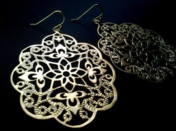Gothic Filigree Pendant  ,Drop, Dangle, Earrings,bridesmaid gifts,Wedding jewelry