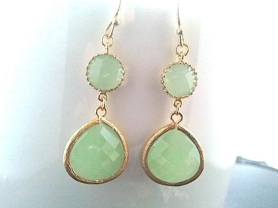Mint Green Gold Drop Earrings, Bridesmaid Gift Wedding Jewelry Bridesmaid Jewelry Bridal Jewelry,Mint Dangle Earrings