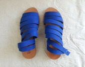 Sale-20% OFF Cobalt Blue leather strap sandals. Closes by nit around the ankle. Women shoes for summer.