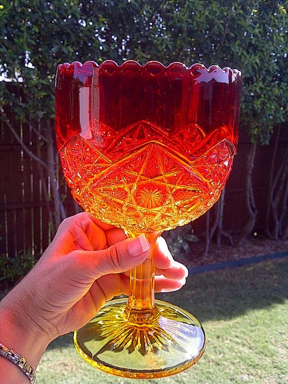 Vintage Viking Amberina Goblet Chalice with Star Design