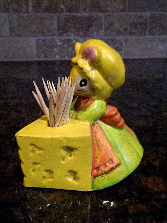 Vintage Mouse with Cheese Toothpick Holder