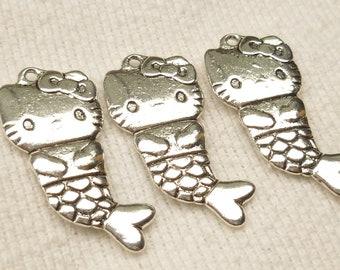 Hello Kitty Mermaid Charms, Silver Tone (4) - S7