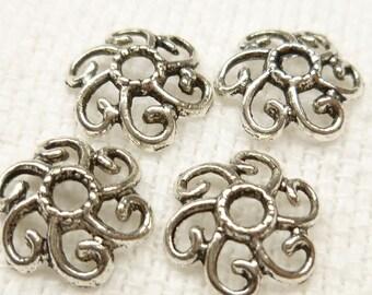 12mm Antiqued Silver Filigree Swirl Flower Bead Cap (20) - SF15