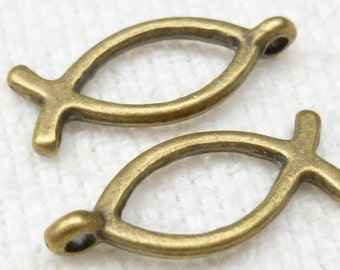 Antique Bronze Ichthys, Fish charms - Christian Symbol (8) - A10