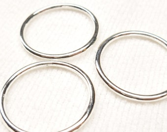 24mm Silver Plated Solid Jump Ring Link Connector (10) - SF39