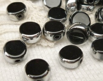 8mm Black and Silver Crystal Glass Coin Beads (10)