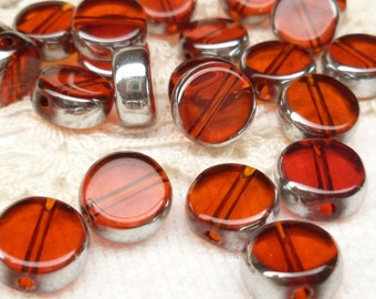10mm Ruby Red and Silver Crystal Coin Glass Beads (10)