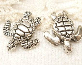 Life-like Sea Turtle Spacer Beads, 3D Antique Silver (4) - SF46