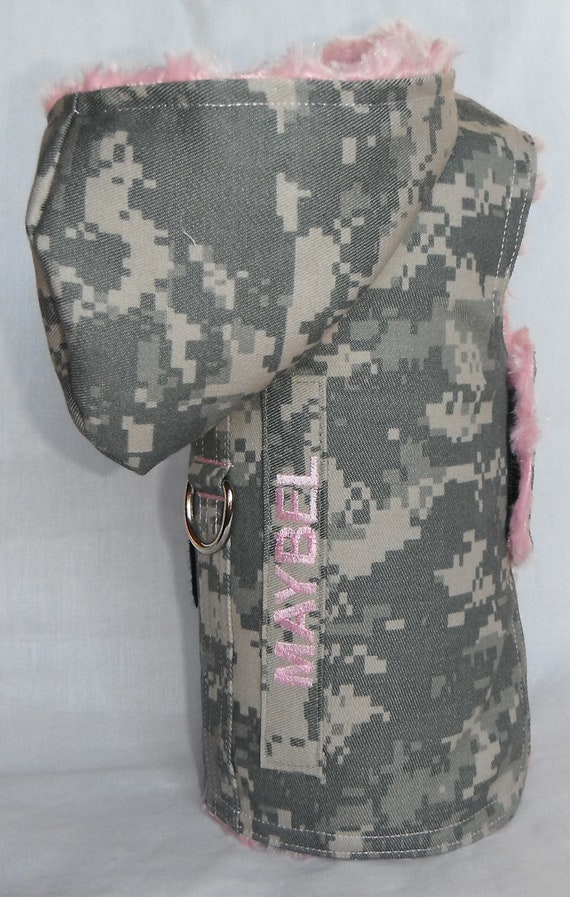 U.S. Army ACU Pink Fur Dog Harness Coat With Service/Name Tab - size XS, S, M (Made to Order)