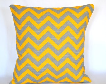 Pillow cover yellow and grey decorative pillow Chevron pillow 18 inches cushion cover premier prints