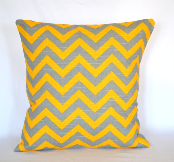 Yellow And Grey Throw Pillow Covers : Pillow cover yellow and grey decorative pillow Chevron pillow