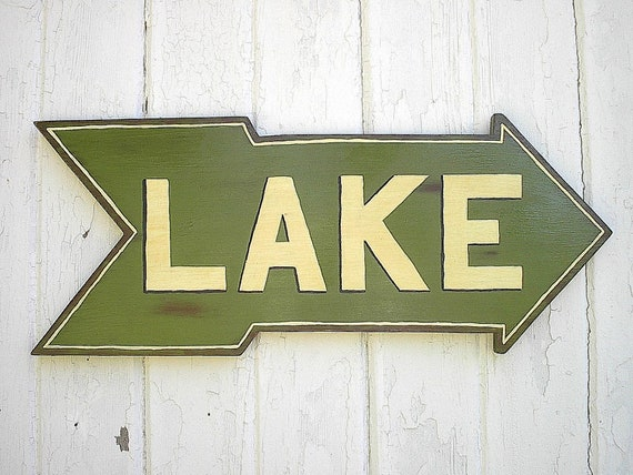 Wall Decor For Lake House : Items similar to wooden lake sign rustic house cabin