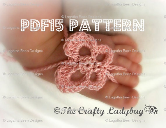 Butterfly barefoot baby sandals - crochet pattern for newborn to toddler sizes - PDF15 digital download