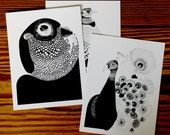 Set of 6 postcards. Owl, peacock, pheasant