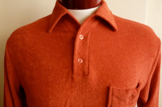 Reserved for Karenahenrietta vintage King's Road by Sears terry cloth long sleeve shirt rust burnt orange, boho hippie surfer, fall
