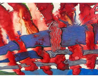 P27 - Red White Blue Patriotic Independence Day Art Postcard