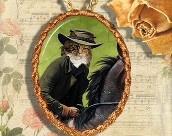 Cat Maine Coon Jewelry Pendant Necklace - Brooch Handcrafted Ceramic