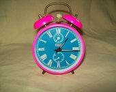 Jerger Alarm Clock West Germany Hot Pink Ring Wake Buzz Morning Rise Bells Tick Tock Sleep Snooze Bed