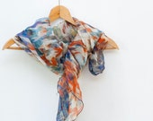Lightweight silk scarf, blue orange shawl, multicolored fashion scarflette