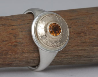 Size 9 1/4 citrine, gold and silver ring, #256.