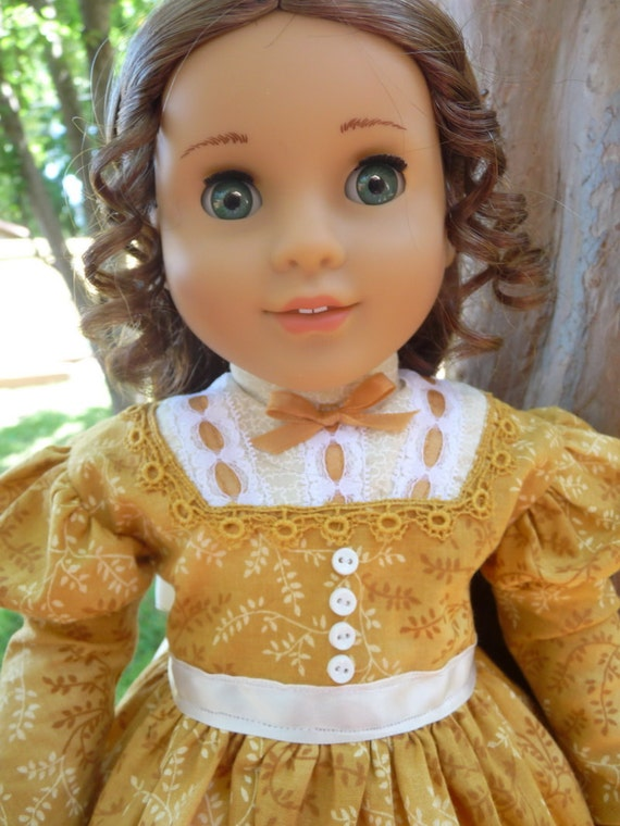 "18"" Doll Clothes 1850's Style Civil War Day Dress For Autumn Fits American Girl Marie Grace, Cecile, Addy"