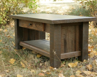 Rustic Reclaimed Dark Coffee Table with drawer