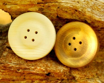 "Giant Button Wall Decor - Big Wooden Buttons 4"" Qty. 2 - Huge Button Wall Art"