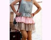 cotton linen cake dress--mini dress patchwork dress leather dress green pink beige dress
