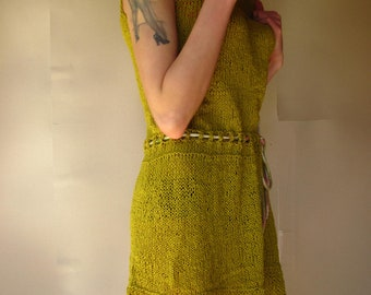 Knitting Dress Tunic Raw Silk Olive-Green Colour