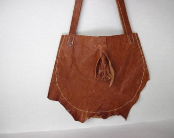 Handstitched Rusty Raw Leather Purse